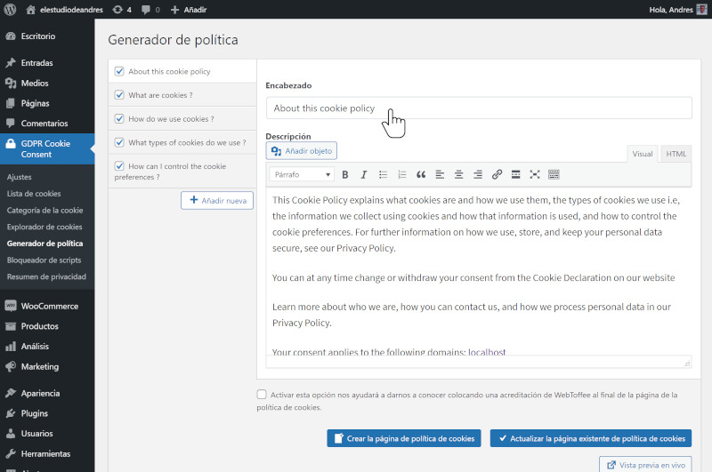 Cómo habilitar el aviso obligatorio de cookies en WordPress 11