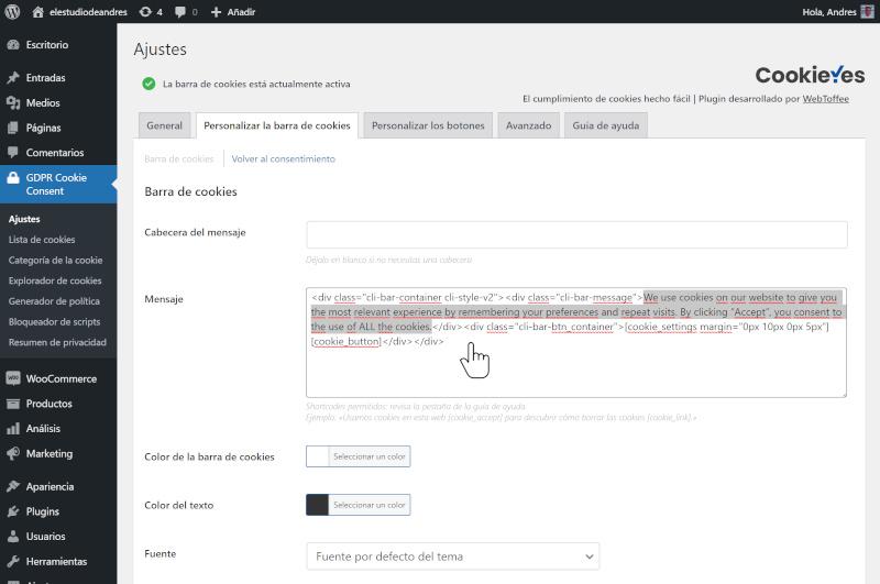 Cómo habilitar el aviso obligatorio de cookies en WordPress 3