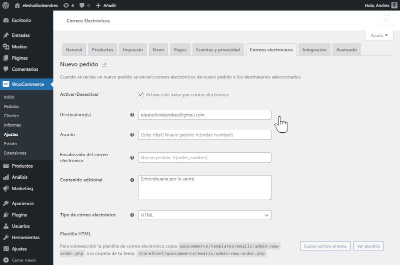 ajustes de correos electronicos en woocommerce 3