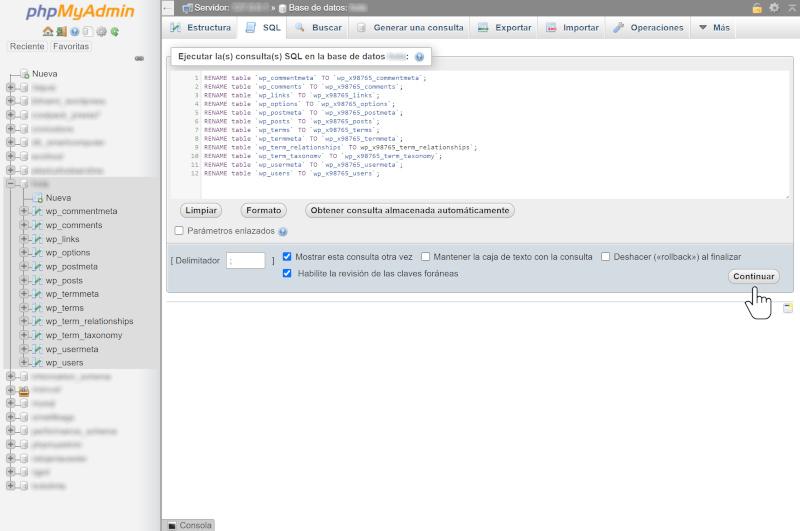 cambiar el prefijo de la base de datos de wordpress 3