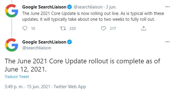 tweet Google Core Update Junio 2021